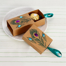 100 Pcs Peacock Feather Candy Boxes 7.5*5cm Drawer Design Wedding Favors Faux Rhinestone Kraft Paper Gift Boxes(China)