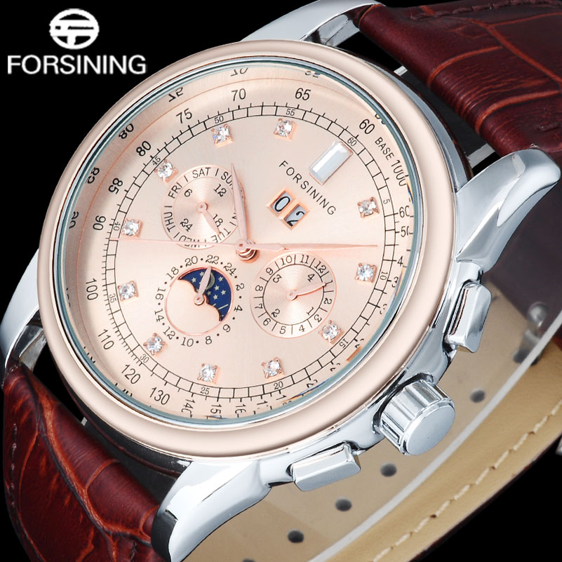 FORSINING Brand Fashion Men Mechanical Watches Genuine Leather Strap Casual MenS Automatic Auto Date Watches Relogio Masculino<br>