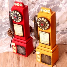 New Vintage Style Resin Coin Saver Old-time Telephone Shape Colorful Money Box Piggy Bank Home & Shop Decor Resin Gift Craft