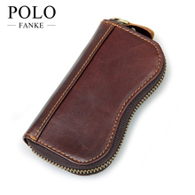 Key Holder Leather 2017 Chocolate Fashion Style Wallets For Keys Housekeeper Organizer Card Purse Men Top Grian Key Cover GK002