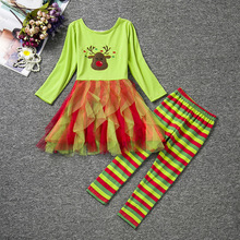2016 New Fashion brand Childrens girls ruffle top and striped little girls christmas outfit toddlers