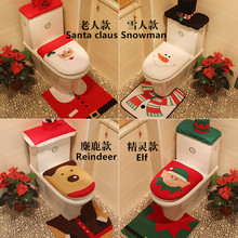 Hot Sale 3Pcs Christmas Decorations 4 Types Santa Reindeer Snowman Elf Toilet Seat Cover and Rug Bathroom Set Bath Decoration