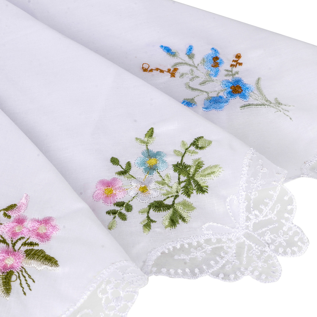 NaroFace 6PCS Vintage Women Napkin Embroidered Butterfly Lace Flower Hankies Floral Assorted Cloth Portable Ladies Handkerchief