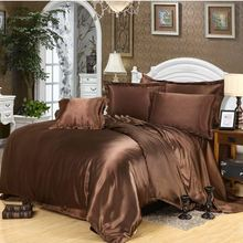 Brown bedding set home textile 4/6pcs imitated silk satin duvet cover queen king bed set bedclothes bed sheet pillowcases(China)