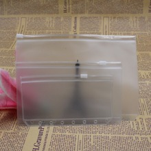 100PC Transparent File Bag A5 A6 A7 PVC Pouch Card Bills Bags Notepad Pocket Document Bag For 6 Holes
