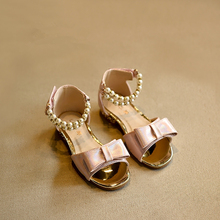 2017 Summer Princess Beading Baby Girls High Heels Sandals Bowtie Dance Shoes for Kids Sandals Sweet Children's Shoes