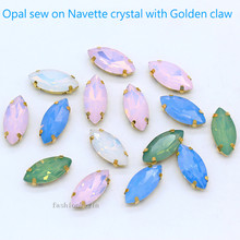 24p 5x10mm Horse eye white/green/pink Opal crystal glass sew on rhinestones jewels 4 Holes gold claw Gems for Garment Dress DIY