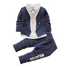 BibiCola New Spring Baby Boy Clothing Set Toddler Boys 2pcs Clothes Suit Baby Infant Tracksuit set Kids Gentleman Stripe Outfits(China)
