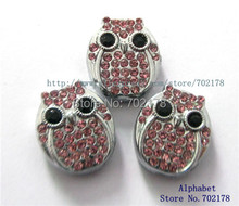 wholesales 10pcs Slide Charms 8mm owl pink rhinestone Fit Can through 8mm band 8mm Pet Dog Cat Tag Collar Wristband