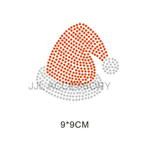 Good quality 5pcs/lot  Korean Rhinestone Hot Fix Motifs Christmas hat  design for baby shirt dress  new item baby love