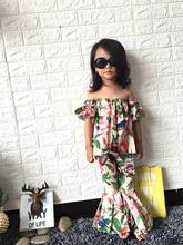 Retail Summer Mother Daughter Look Family Matching Outfits Morning glory flare trousers Beach Clothing Sets Dress Scarf TT001(China)