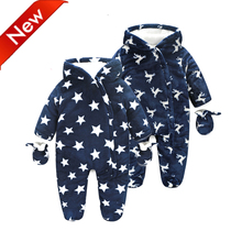 NEW 2017 Brand Baby Rompers Winter Snowsuit Newborn Infant Overalls Boy Girl Clothes Warm Winter Jumpsuit Jacket Baby Snow Wear(China)