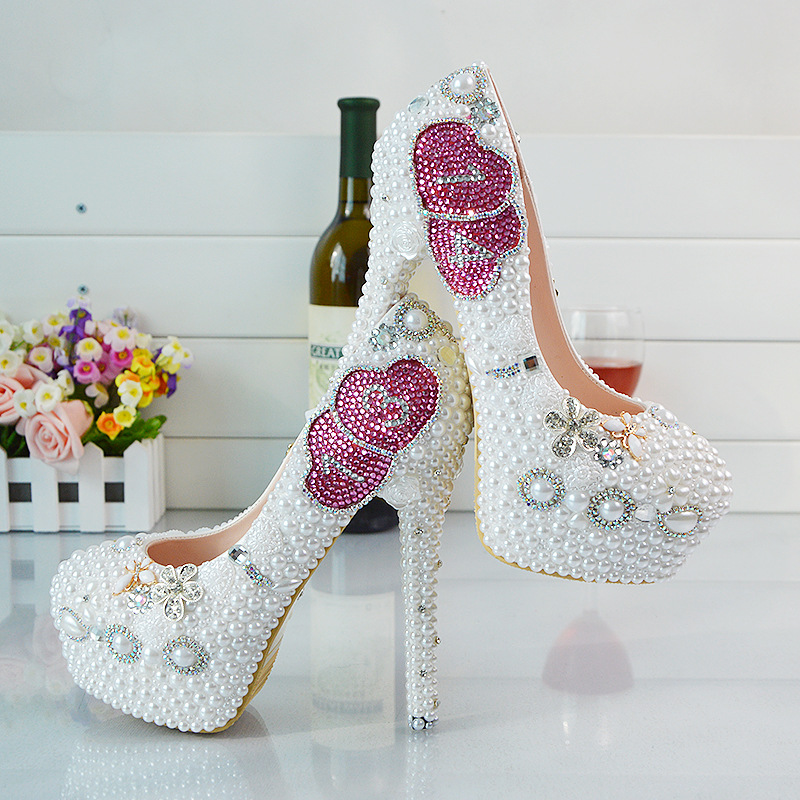 2017 New Platform Beautiful Pearl Lace White Wedding Shoes Women Pumps Party Dance Sexy High-Heeled Shoes 9/11/14 cm eur34-42<br><br>Aliexpress