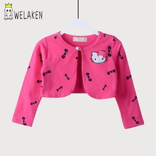 2016 Spring Autumn Baby Girl Clothes Lovely Hello Kitty Cartoon Pattern Long Sleeved Cotton Shawl Outwear Kids Boys Coat(China)
