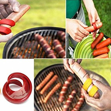 2PCs Hot Dogs Cutter Fancy Sausage Cutter Outdoor Barbecue Slicer Kitchen Gadget Grill Accessories BBQ Tools(China)