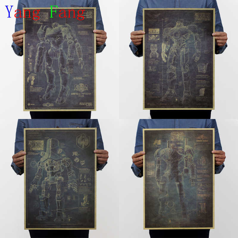 Pacific Rim Mech Warrior Robot Design Drawings Kraft Paper Poster Retro Decorative Painting 51 * 35cm Vintage Greeting Card