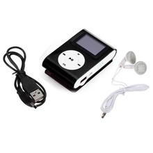MP3 Mini USB Clip MP3 Player LCD Screen Support 32GB Micro SD TF Card Data Cable Earphone MP3 Combination  Wholesale