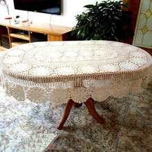 100% Hand Making Oval Hand Crocheted Knitting American Countryside Oval Table Cloth 1pcs