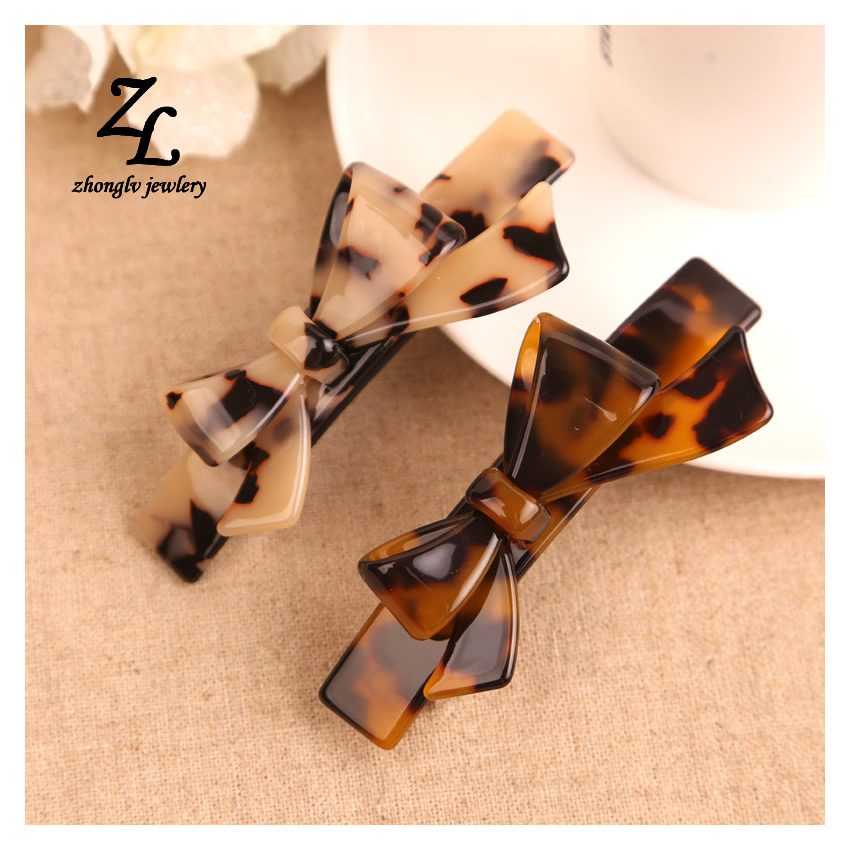 Women's Luxury Oval Shape Cellulose Acetate bowknot Hair Clip Barrettes 8.7cm Long 2017 ZHONGLV Spring clip female jewelry(China (Mainland))