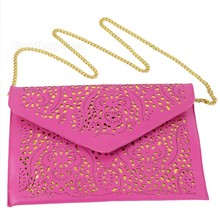 2016 Hot New Hollow chains envelope bag neon color cutout bag pu candy color day clutch women's messenger bags
