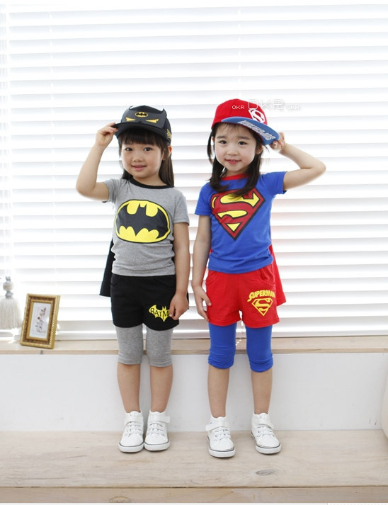 New Summer Boys girl Short-Sleeved Suit Children's cotton short-sleeved cape child suit Baby clothes