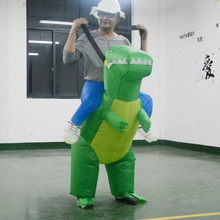 Adult Jurrasic World Cosplay Costume Man Riding a Green Dinosaur Dress Inflatable Suit Half Body Christmas Party Jumpsuit(China)