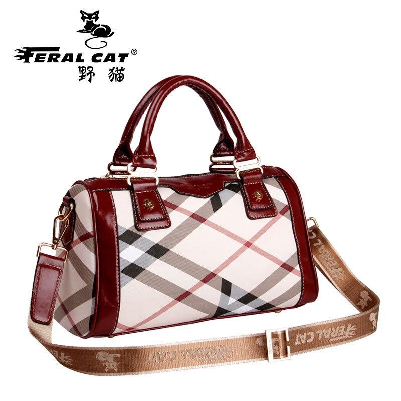 FERAL CAT Famous Brands Women Messenger Bags Luxury Plaid Boston Handbags Designer Girls Pvc Zipper Single Tote Crossbody Bag<br>