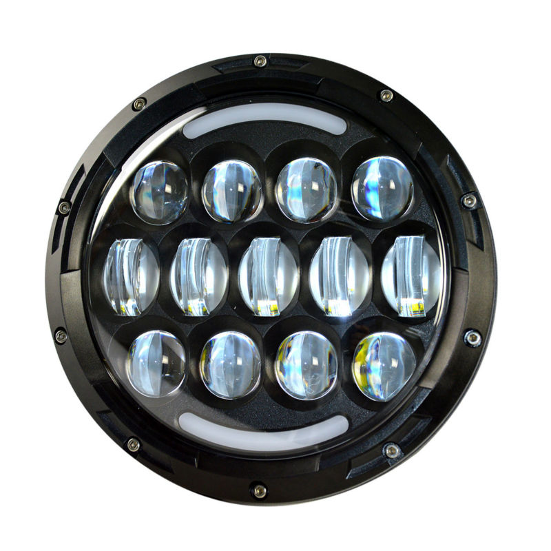 CZG-778 1PC high bright 7 led headlight for jeep wrangler 7 inch round led headlamp 78w for harley motorcycles with white DRL <br>