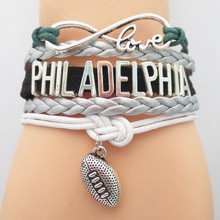 SANDEI Jewelry Infinity Love Philadelphia football Team Bracelet Customized Wristband friendship Bracelets B09041(China)