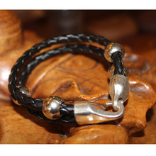 Sale 2015 On Fashi Free KH1507 jewelry Double steel for gold bracelet men price * necklace wrist band leather(China)