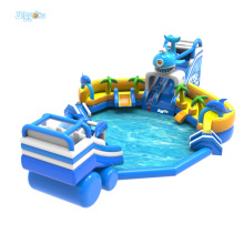 Cheap Price Inflatable Water Game Water Slide Inflatable Water Park With Water Pool