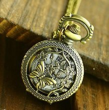 12pcs/lot Antique Spring Butterfly Pocket Watch Pendant Necklace --- Quartz WE194, Dia 2.7cm,