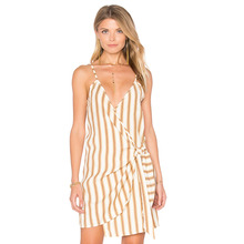 Buy Orange white stripe spaghetti strap wrap mini dress women summer Deep V neck irregular sexy dress ladies slim fit short dresses for $16.77 in AliExpress store