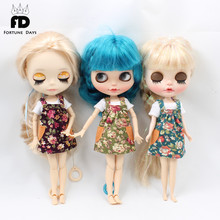 Free shipping overalls spring dress, flower suit, white shirt, for 1/6 doll, for blyth doll & icy & jecci five,  for 30cm doll