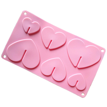 Free shipping 6 hearts lollipop mold cooking tools chocolate ice mold Silicone Mold baking Fondant candy Sugar Craft DIY Cake(China)