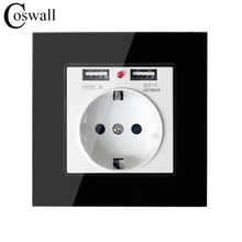 Coswall Crystal Glass Panel Dual USB Charging Port 2.1A Wall Charger Adapter 16A EU Socket Power Outlet Black Color()