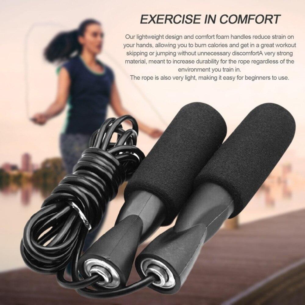 Human - Aerobic Exercise Boxing Skipping Jump Rope Adjustable Bearing Speed Rope Black