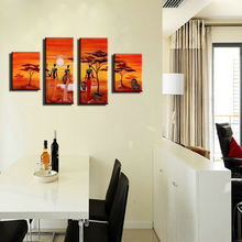 hand painted canvas picture beautiful African woman painting sunset modern abstract oil paintings for living room wall bedroom