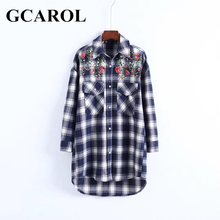 Buy GCAROL New Autumn Winter Women Embroidery Floral Plaid Blouse Two Pockets Asymmetric Shirt Fashion Vintage British Style Tops for $15.98 in AliExpress store