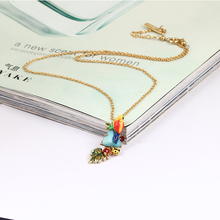 2017 FashioBe Listed Enamel Mix Colar Parrot Blue Pine Shi Shuye Triangle Natural Stone Necklace Gold Clavicle Chain Jewellery(China)