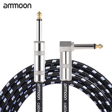 ammoon 6 Meters/ 20 Feet  or 3 Meters Electric Guitar Bass Musical Instrument Cable Cord 1/4 Inch Straight to Right Angle Plug