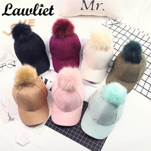 Baseball Cap Fashion Multicolor Polyester Hip Hop Cap with Fur Pom Pom Women Girl Cap Adjustable Snapback CapA383
