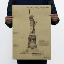 Statue of Liberty/ Classic Building Poster / Retro Nostalgia / Advertising Posters / Bar Decorative Painting 51x35.5cm/
