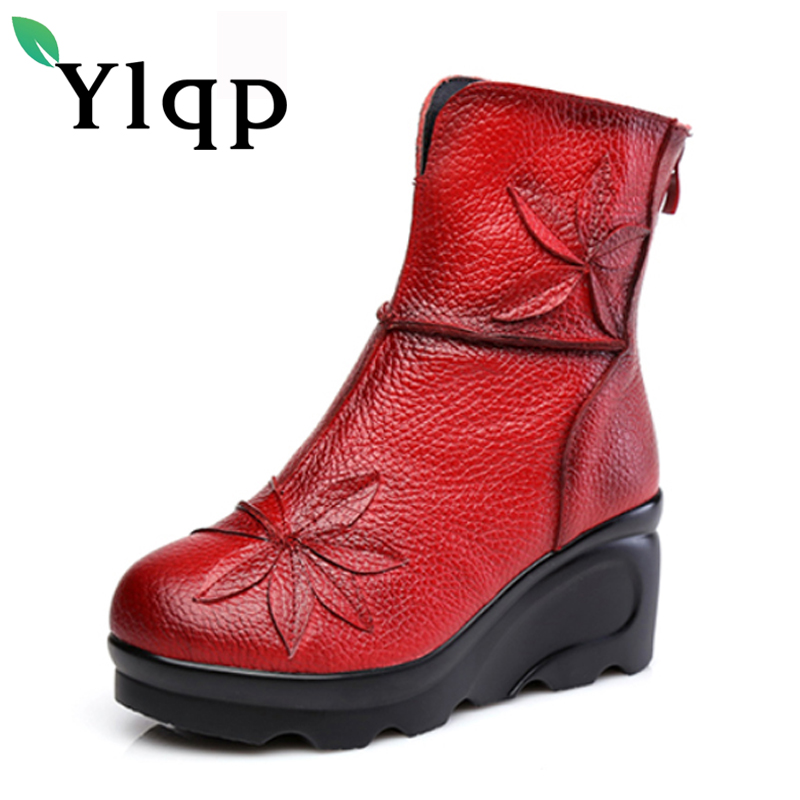 Ylqp Beauty Folk Style Thick Warm Soled Boots 2017 Winter Women Genuine Leather Platform Boots Mother Casual Retro Flower Shoes<br>