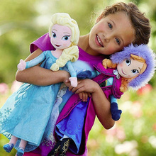 IN STOCKS!! 40cm New Plush Toys Princess Elsa and Anna  Doll Brinquedos Kids Dolls for Girls Free shipping