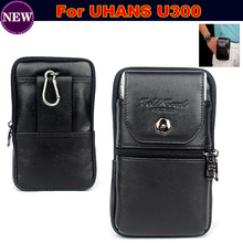 Wallet Phone Bag / Genuine Leather Carry Belt Clip Pouch Waist Purse Case Cover for UHANS U300 Mobile Phone Bag Case