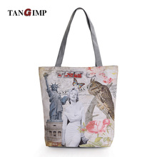 TANGIMP Women Female Casual Handbags Polyester Car London Marilyn Monroe Paris Shoulder Bag Ladies Vintage Tote Beach Bags