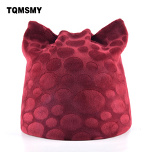 TQMSMY Soft fabric women's Beanies autumn girl Lovely Cat Ear hat casual Ladie Maple Leaf pattern cap winter hats for women bone(China)
