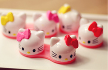 Super Sweet Bowknot Hello Kitty 1Pair Plastic Contact Lens BOX Case Container Holder Organizer Storage BOX(China)