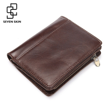 Men Casual Genuine Cowhide Leather Wallet Vintage Design Small Coin Purse Male Short Slim Zipper Bifold Wallet Card Photo Holder(China)